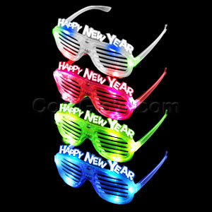 LED New Year Slotted Shades - Assorted