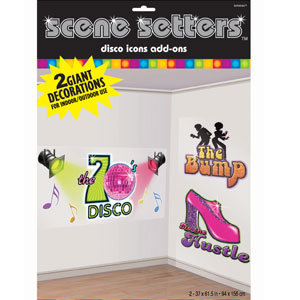 Disco Dance Signs Scene Setters- 2ct