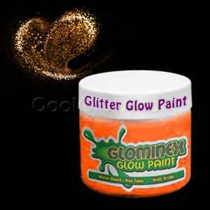 Glominex™ Glitter Glow Paint 8 oz Jar - Orange