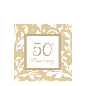 Gold Elegant Scroll Anniversary Luncheon Napkins- 16ct
