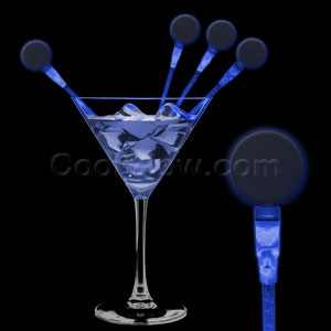 Fun Central P883 LED Light Up Circle Cocktail Stirrers - Blue
