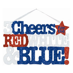 Patriotic Glitter Welcome Sign- 13.5in