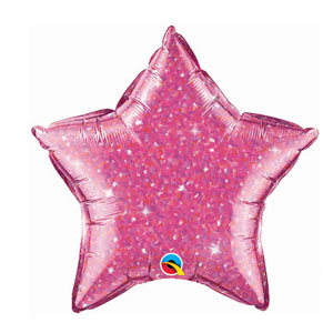 Magenta Crystalgraphic Star Balloon - 20 inch