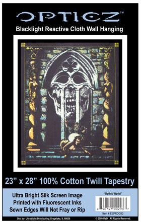 Opticz Gothic World Blacklight Reactive Cloth Wall Hanging