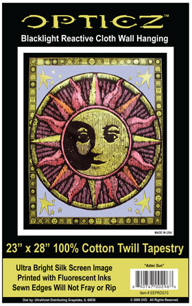 Opticz Aztec Sun Cloth Blacklgiht Reactive Wall Hanging