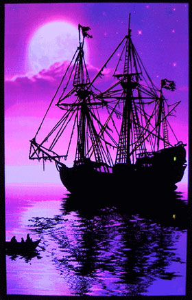 Moonlit Pirate Ship Blacklight Poster