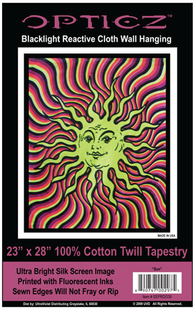 Opticz Sun Blacklight Reactive Cloth Wall Hanging