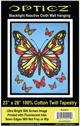 Opticz Butterfly Cloth Blacklight Wall Hanging