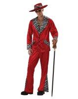 Pimp Red Crushed Velvet Adult Costume - Large (42-44)