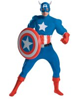 Captain America Deluxe Adult Muscle Costume - X-Large (42-46)