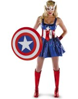 Captain America Sassy Deluxe Adult Costume - Large (12-14)