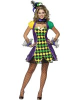 Mardi Gras Jester Woman Adult Costume - Small/Medium