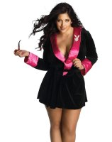 Secret Wishes Hef Robe Black-Pink Adult Plus Costume
