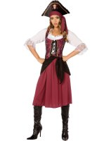 Burgundy Pirate Wench Adult Costume - 6-8