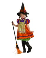 Orange Witch Child Costume - Medium (8/10)