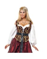 Black and Gold Corset Bodice Adult - Small