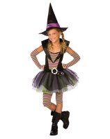 Green and Purple Striped Witch Child Costume - 12-14L TWEEN