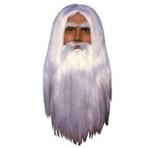 Merlin Wig & Beard - White / One Size