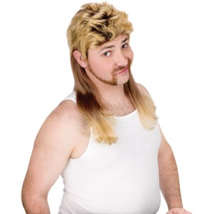 Super Mullet Blonde Wig Adult - Yellow
