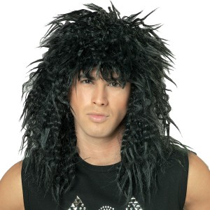 Rock Star 80's Wig Black Adult - Black / One Size