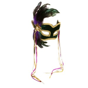 Mardi Gras Feather Couples Mask - Green / One Size