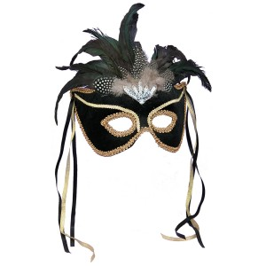 Black Feather Couples Mask - Black / One Size