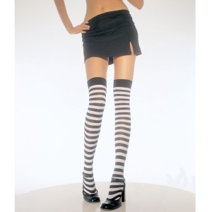 Black & White Stripe Thigh High Tights - Black / One Size