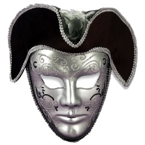 Venetian Mask Silver W/Headpiece - Silver / One Size