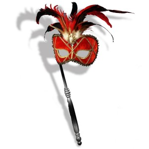 Red Venetian Mask with Stick - Red / One Size