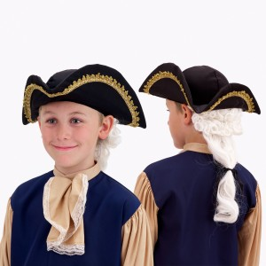 Colonial Hat with Wig Child - Black / One Size