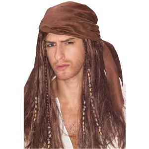 Caribbean Pirate Wig With Beads - Brown
