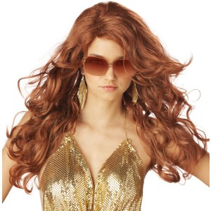 Super Sexy Super Model Auburn Adult Wig - Red / One Size
