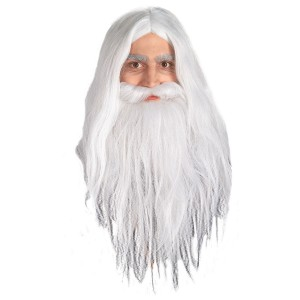 Gandalf Wig & Beard - Lord of the Rings - White / One-Size