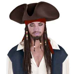 Pirates of the Caribbean - Jack Sparrow Pirate Hat With Beaded Braids - Brown / One Size