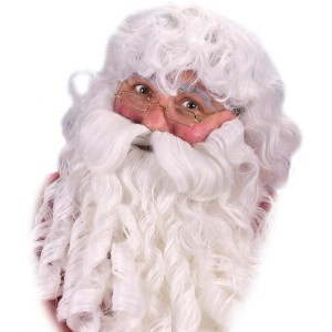 Deluxe Santa Wig Beard and Eyebrows Set - White / One Size