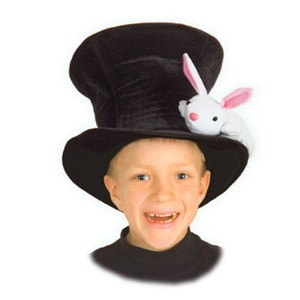 Kid's Magician Hat With Rabbit - Black / One Size