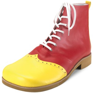 Wing Tip Clown Red/Yellow Adult Shoes - Red / Up to Mens 13
