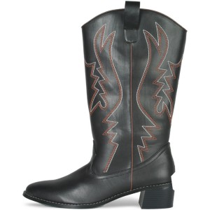 Western Cowboy Black Male Adult Boots - Black / Small (8-9)