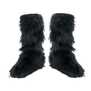 Fuzzy Black Child Boot Covers - Black / One-Size