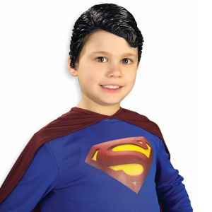 Superman Vinyl Wig Child - Black / One Size