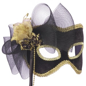 Golden Flower Masquerade Mask - Gold / One Size
