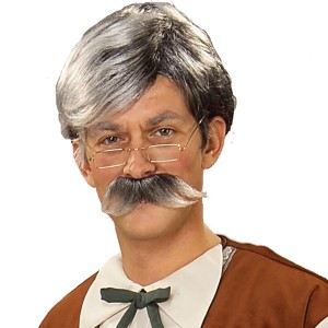 Geppetto Wig and Moustache - Grey - Gray / One Size