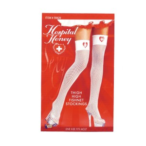 Hospital Honey - Nurse Fishnet Thigh Highs - White / One Size