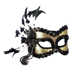 Black and Gold Carnival Masquerade Mask - Black / One Size