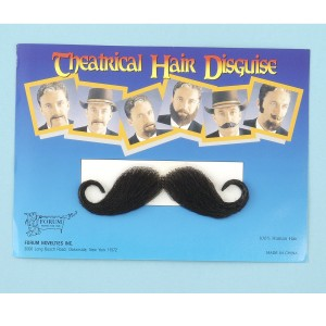 Handlebar Moustache- Black - Black / One Size