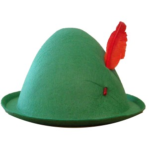 Economy Alpine Hat with Feather - Green / One Size