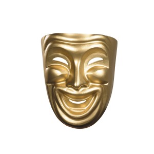 Gold Comedy Mask - Gold / One Size