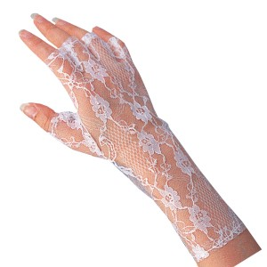 White Lace Gloves - White / One Size