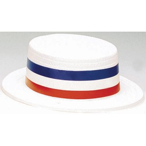 Patriotic Plastic Skimmer Hat - Red/White/Blue / One-Size