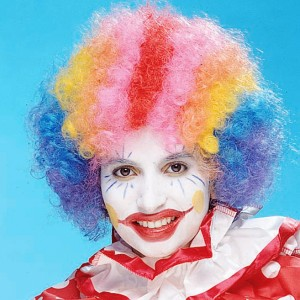 Rainbow Economy Clown Wig - Red / One Size